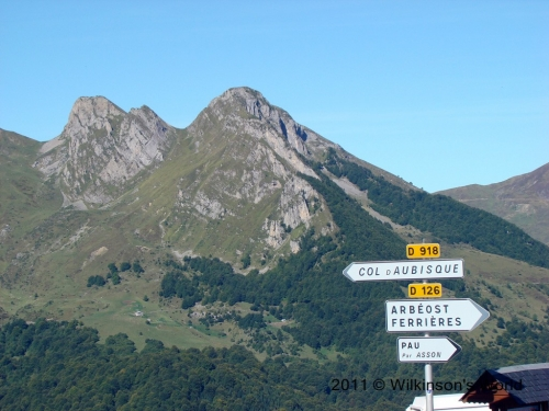Sign at the top of Col du Soulor