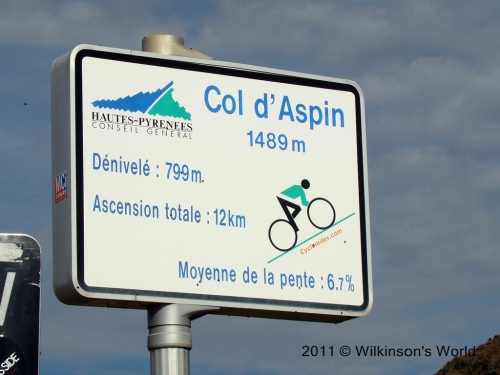 Sign at the top of Col du Aspin