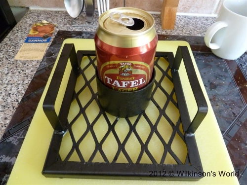 Beer can placed on grid