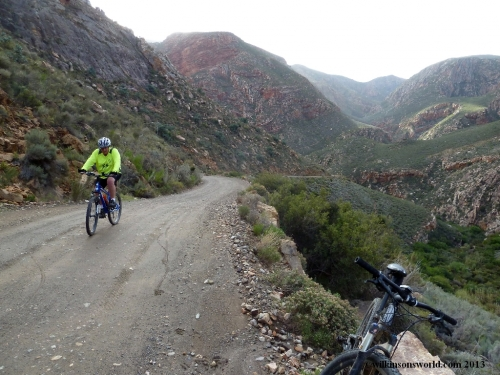 11 - Day 4 - Andrew climbing the north side of Swartberg Pass