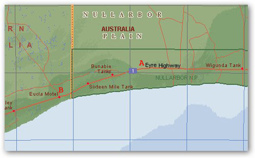 Nullarbor (A) to Eucla (B)