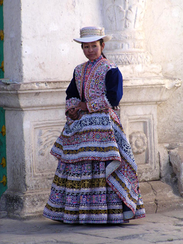 Exquisitely dressed Quechan lady at Chevay