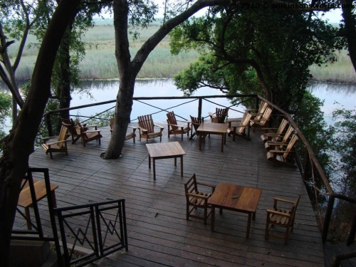 The lodge's wooden deck
