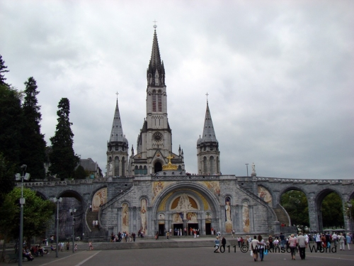Basilica of the Rosary in front and the towers of the Basilica of the Immaculate Conception behind