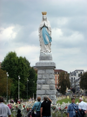 Statue of the Crowned Virgin in Rosary Square at Lourdes