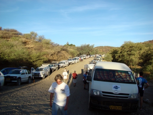 Cars lining the road at the second checkpoint