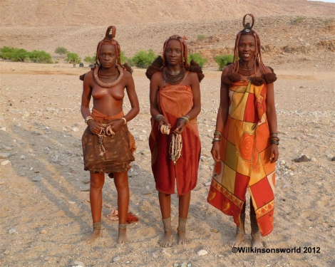 Three colourful Himba ladies